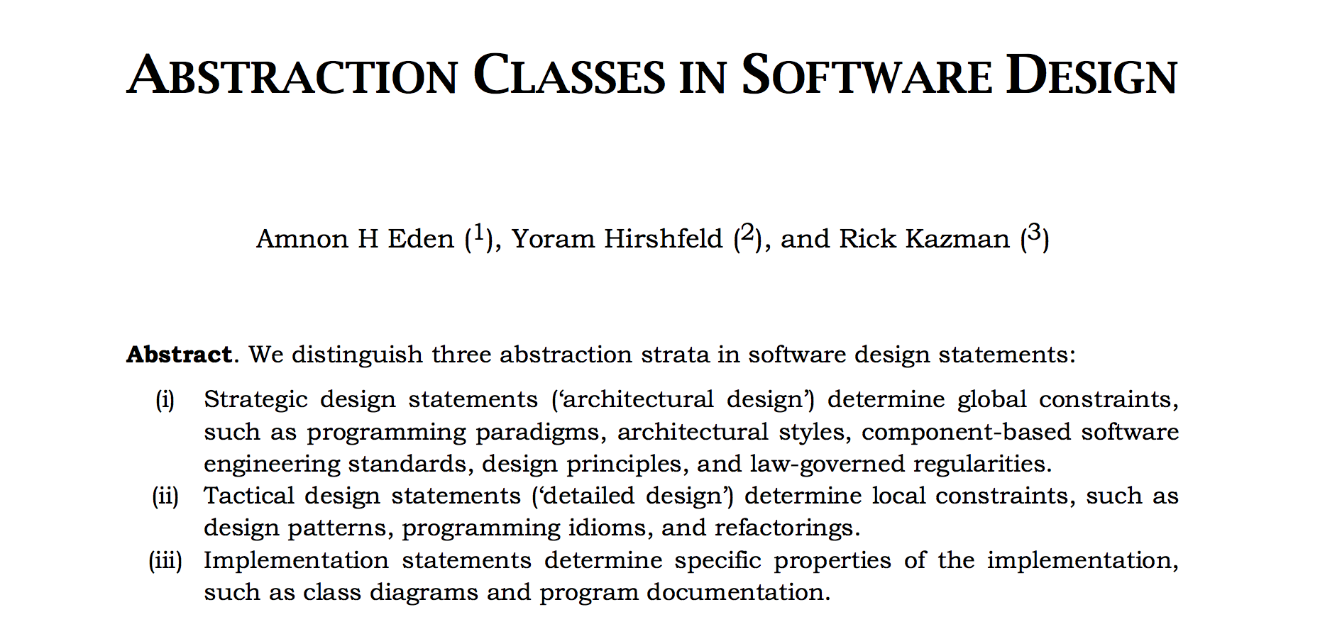 Abstraction Classes In Software Design Papers We Love